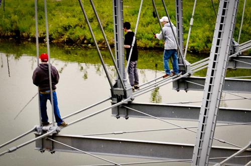 High fishing off the bridge to nowhere