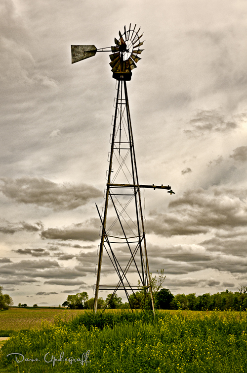 Windmill with gray skies