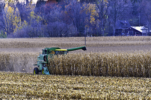 A combine in the field
