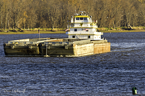 Barge on the Mississippi near Bellevue, Iowa