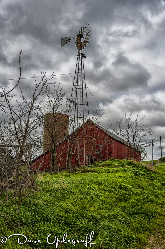 windmill, shed, and silo