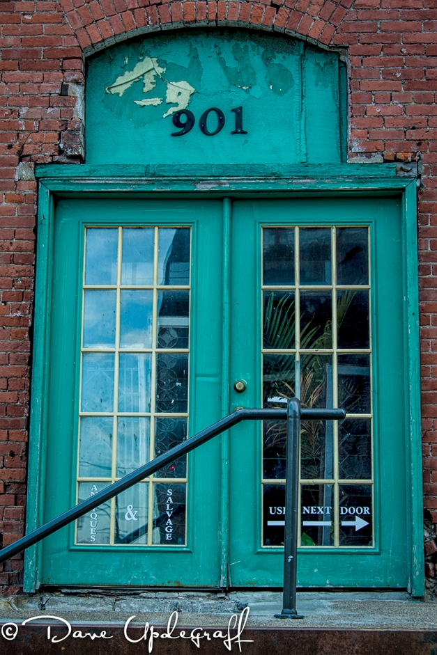 A door in the warehouse district