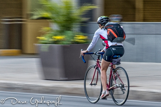 Cyclist On Des Moines Streets