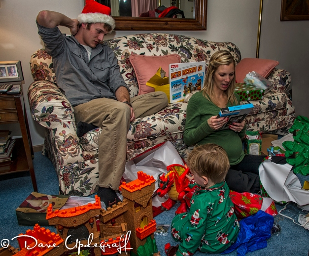 Mark, Angie and Josh enjoy presents