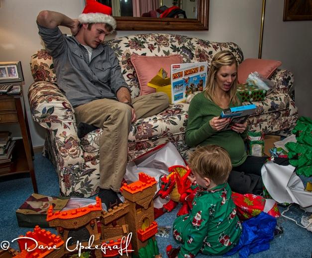 Mark, Angie and Josh enjoy presents
