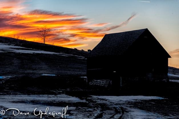 A barn at sunset