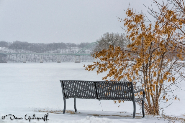 A Bench overlooking the frozen Mississippi