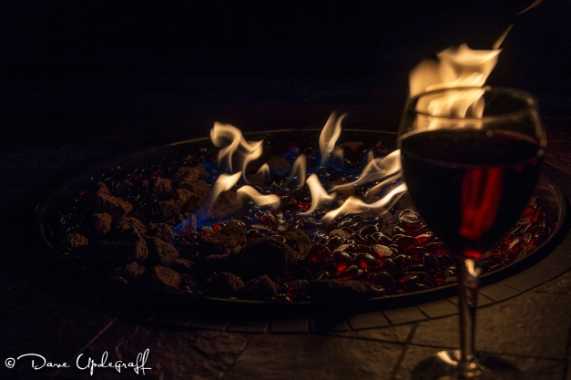 Fire Pit and a Glass of Wine